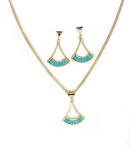 isbijoux – Colgante Abanico Color Turquesa + Cadena (45 cm) y Pendientes – Chapado en Oro 750/1000 – 3 micrones – Mujer