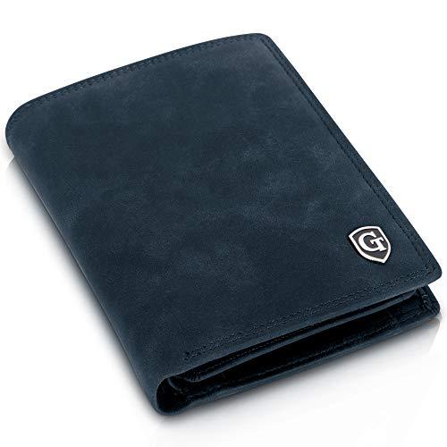 Dublin Geldbörse mit Münzfach - TÜV geprüfter RFID, NFC Schutz - geräumiges Portemonnaie - Geldbeutel für Herren und Damen - Portmonaise inkl. Geschenkbox (Marineblau - Soft)