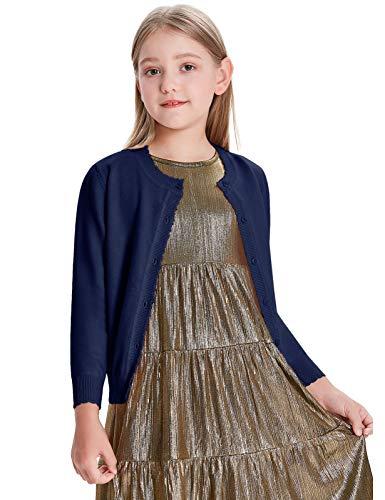 GRACE KARIN Cárdigan CLA02782 - Chaqueta de punto de manga larga para niña (cuello redondo) azul oscuro 7 años