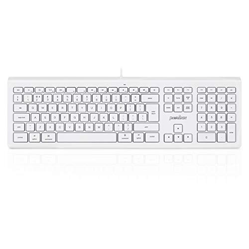 Perixx PERIBOARD-323 Silent Wired Backlit Keyboard, Compatible with Mac Os X Apple iMac Keyboard, White LED, UK Layout