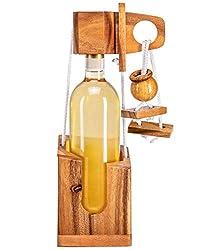 Zederello Flaschenpuzzle edlem Holz, Holz-Tresor, Flaschen-Rätsel, Weinpuzzle, Geschenkverpackung Weinflasche, Geschicklichkeitsspiel, Weinflascherätsel, Holztresor Puzzle