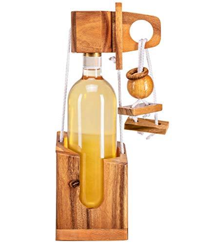 Zederello Puzle para Botellas de Madera Noble, Rompecabezas para Botella de Vino, Envoltorio como Regalo, Rompecabezas abrebotellas, Muy dificil