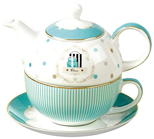 Jusalpha Bone China Blue Teapot and Server Set for One, Teapot Cup and Saucer Set (Teapot Set 04)