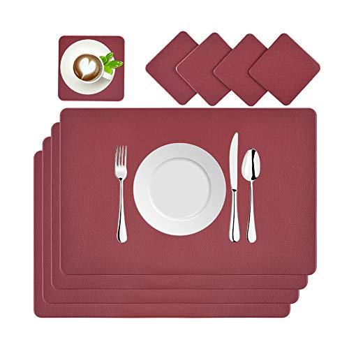 BaoWnylz Tovaglietta in Pelle, Set di 4 Tovagliette Lavabile Impermeabili Place Table, 45 x 30 cm con Sottobicchieri in Pelle, per Cucina Domestica, Ristoranti e Hotel (Rosso)