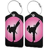 Etiquetas de equipaje Taekwondo diseño para mujer maleta de cuero bolsa de equipaje de viaje con funda de privacidad Set de 2 piezas