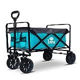 TMZ Carro plegable todoterreno para jardín con freno de pie, ruedas anchas patentadas, carretilla de mano de 90 litros, práctica dirección delantera integrada, carga de hasta 120 kg