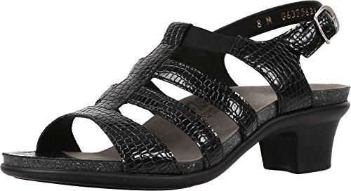 SAS Women's Heeled Sandals, Black Croc, 10 Narrow