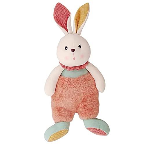 Lindo conejito de peluche de juguete de la muñeca de la almohada de color de conejo de peluche de peluche almohada a cuadros bufanda conejo niña niños suave felpa regalo 23cm conejo