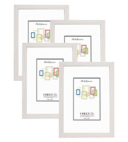 Chely Intermarket, Marco de Fotos A4 (Blanco) MOD-254 (Pack de 4 uds), Hecho Madera sólida, Ancho de Bastidor 1,20 cm con Acabado Elegante | Marco para títulos y certificados (254-A4*4-0,55)