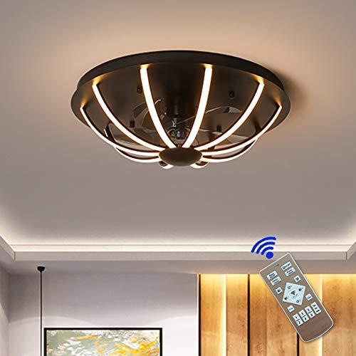 Ventilador de techo LED, 120 W, diámetro 60 cm, 3000 K-6000 K, colores regulables con mando a distancia, 3 velocidades, dormitorio, lámpara de oficina, restaurante, salón iluminación