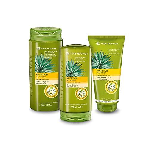 Yves Rocher PFLANZENPFLEGE HAARE Haarpflege-Set Nutrition, für geschmeidiges und seidiges Haar, Shampoo, Spülung und Haar-Maske