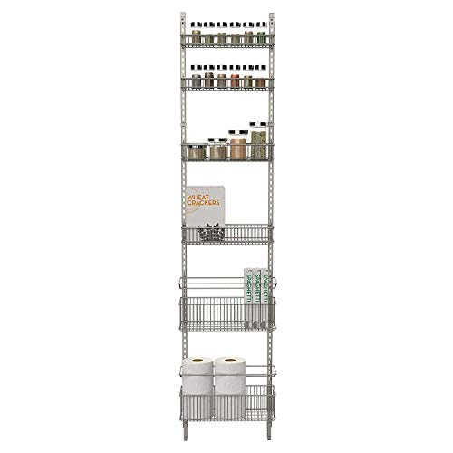Premium Over-the-Door Steel Frame Kitchen, Pantry, and Bath/Room Organizer in Satin Nickel, Adjustable Shelf System Made of Solid Steel, Hung or Door Mounted Option
