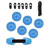 Anwangda - 6 anelli per kayak a D, per sup e ponte, in PVC, gonfiabili, per canoa e canoa (blu)