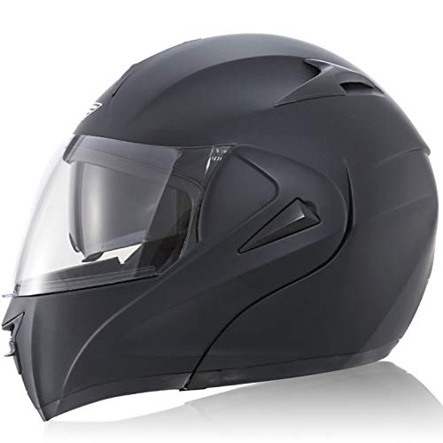 Casco de Moto,Cascos Moto Visera Doble Ranura Forro Extraíble Deducción Rápida Certificación ECE para Unisex Adultos Casco Protector de Motocicleta C,M57~58CM