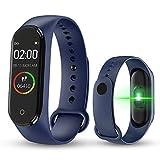 BATHRINS Smart Armband, [Update] M4 Fitness-Tracker, Bluetooth, wasserdicht, Herzfrequenz-Monitor, Schrittzähler, für Herren und Damen, blau