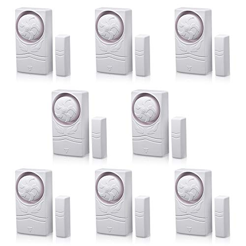 Wsdcam Door and Window Alarm for Home Time Delay Alarm Magnetic Window Alarm Sensors for Home Security, Loud 110 dB - 8 Pack