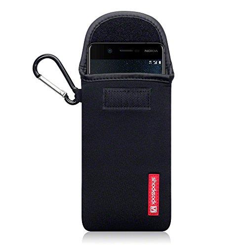 shocksock, Kompatibel mit Nokia 5 Neopren Tasche mit Carabiner Hülle - Schwarz