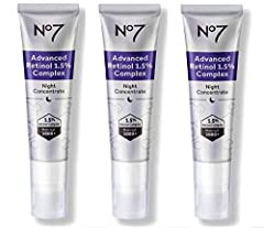No7 Advanced Retinol 1.5% Complex Night Concentrate Formulated to harness the power of Retinon Intelligent slow-release oil encapsulation system Pack of 3 (90ml in total)