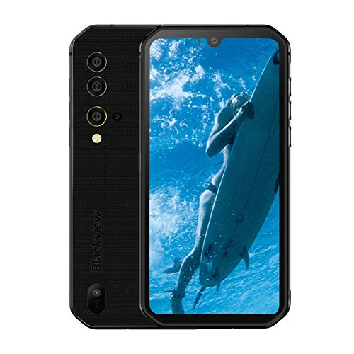 Blackview BV9900 IP68 Smartphone Resistente - 48MP+16MP Cámara, Helio P90 8GB RAM 256GB ROM, Android 9.0 IP68 Móvil Antigolpes Impermeable,Batería 4380mAh,Carga Inalámbrica NFC GPS Dual SIM Negro