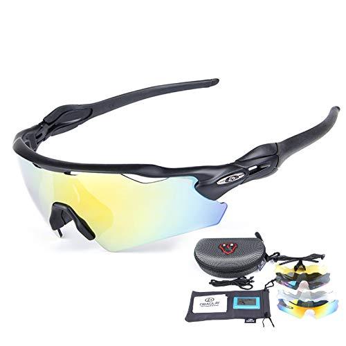 ZYQDRZ Gafas Deportivas Polarizadas para Ciclismo, Gafas para Bicicleta, con 5 Lentes Intercambiables, Utilizadas para Deportes De Pesca, Conducción Y Ciclismo Al Aire Libre,Negro