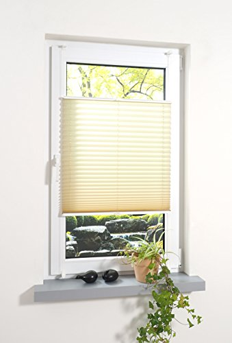 JalousieCrew Klemmfix Plissee Farbe Ecru grau - beige - Breite 40 bis 100 cm, Länge 130 cm und 220 cm - Klemm - Rollo ohne zu Bohren (80 x 220 cm)