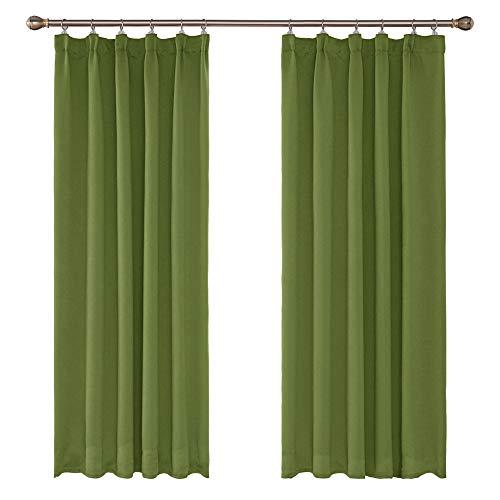 UMI. by Amazon - Cortinas Opacas Blackout para Ventana Oscuras de Salon Dormitorio Moderno Juveniles con Bolsillo Fruncido 2 Piezas 140 x 175 cm Verde