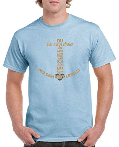 Comedy Shirts – Du bist mein Anker der Mich au sol – T-shirt pour homme – Col rond 100 % coton, T-shirt à manches courtes Top Basic - Bleu - XX-Large