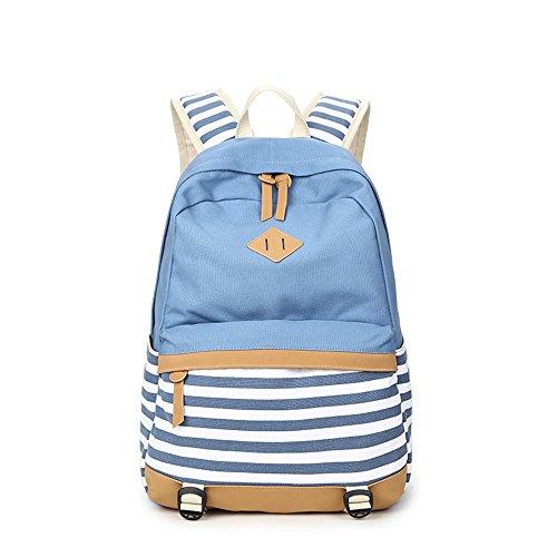 Sacs à dos rayures décontracté toile portable sac scolaire sac à dos léger pour jeunes adolescentes