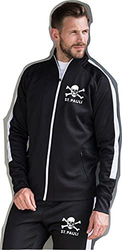 FC St. Pauli Ultras Hooligans Retro Fußball Trainingsanzug Deutschland Bundesliga Gr. L, schwarz / weiß