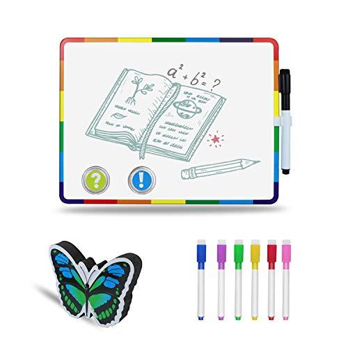 Lavagna Magnetica Bianca, 28 x 21,5 cm, Lavagna magnetica cancellabile con 7 markers, 2 magneti e 1 Cancellino per la scuola, ufficio, casa