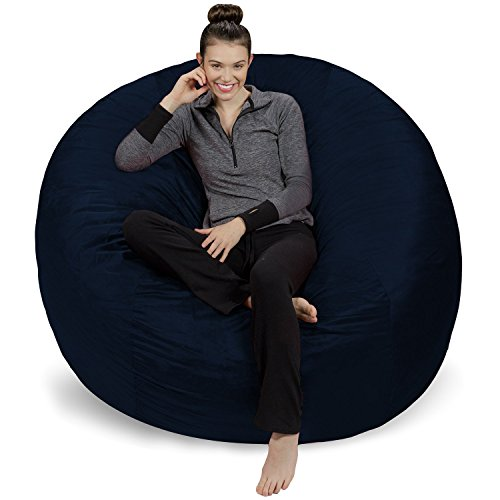 Sofa Sack - Plush Ultra Soft Bean Bags Chairs for Kids, Teens, Adults - Memory Foam Beanless Bag Chair with Microsuede Cover - Foam Filled Furniture for Dorm Room - Navy 6'