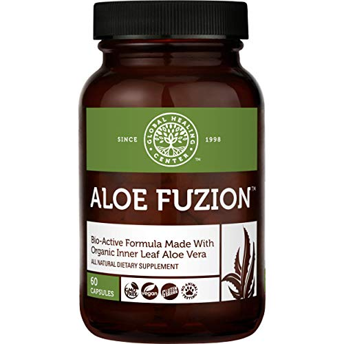 Global Healing Aloe Fuzion Bio-Active Organic Aloe Vera Leaf Supplement - 200x Concentrate Formula with Highest Concentration of Acemannan - Aloin-Free - Blood Sugar & Immune Support - 60 Capsules