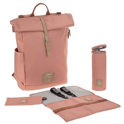 LÄSSIG babyluierrugzak met luieronderlegger, bevestiging aan de kinderwagen, flessenwarmer waterafstotend duurzaam geproduceerd/roltop backpack bruin (cinnamon)