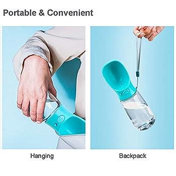 Nasharia Bouteille d'eau pour Chien 550ml, Portable Voyage Gourde avec Bouton Lock pour Chien, Chat, Animaux de Compagnie - sans BPA (Bleu)