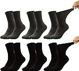 Vitasox 31034 Herren Gesundheitssocken extra weiter Bund ohne Gummi, Venenfreundliche Socken mit breitem Schaft verhindern Einschneiden & Drücken, 6 Paar Schwarz Anthrazi 47/50
