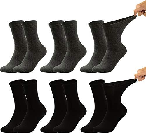 Vitasox 31034 Herren Gesundheitssocken extra weiter Bund ohne Gummi, Venenfreundliche Socken mit breitem Schaft verhindern Einschneiden & Drücken, 6 Paar Schwarz Anthrazit 50/52