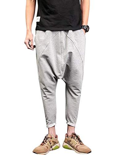 Adelina Herren Baggy Jogginghose Fitnesshose Tasche Hose Jungen Crotch Harem Drop Freizeithose Sporthose Trousers Einfarbig (Color : Gr?Ulich, Size : 3XL)