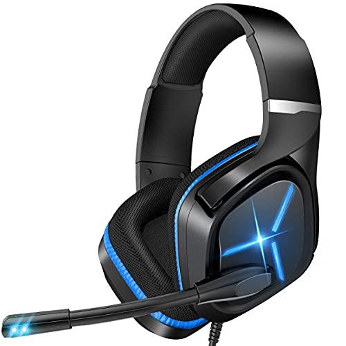 Nulliplex Casque Gaming PS4, Casque Gamer avec Micro Anti Bruit, LED lumière, stéréo, Microphone réglable, Compatible PS4 / Xbox One/Switch/PC/Mac(Bleu)