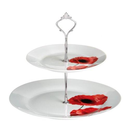 Premier Housewares 2-stöckige Porzellan-Etagere Poppy, rot, 25x27x25