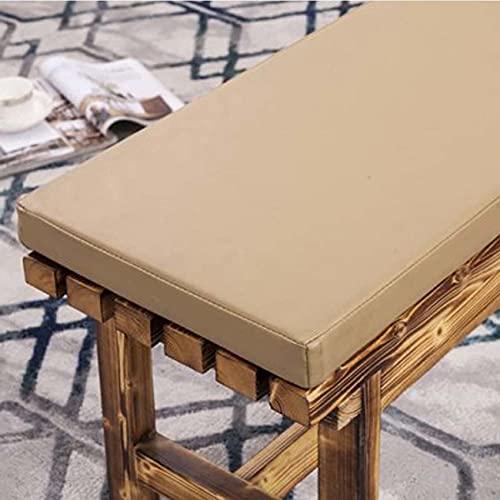 Waigg Kii Cojín de cuero para banco al aire libre, 2/3 plazas, impermeable, cojín de banco de jardín, cojín largo para silla para patio o comedor (100 × 35 × 5 cm, beige)