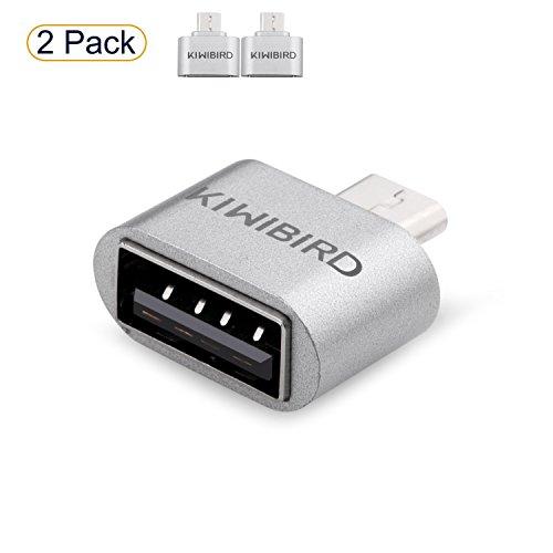 KiwiBird Micro USB (Macho) a USB 2.0 (Hembra) Adaptador de Alta Velocidad OTG para Android Smartphone/Tablet con función OTG ***Pack de 2***
