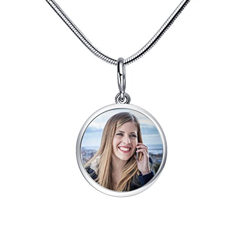 MoonLove Personalisierte Rund Anhänger mit Foto personalisierbar Fotogravur Fotoanhänger 925 Sterling Silber für Halskette und Armband Geschenk Schmuck