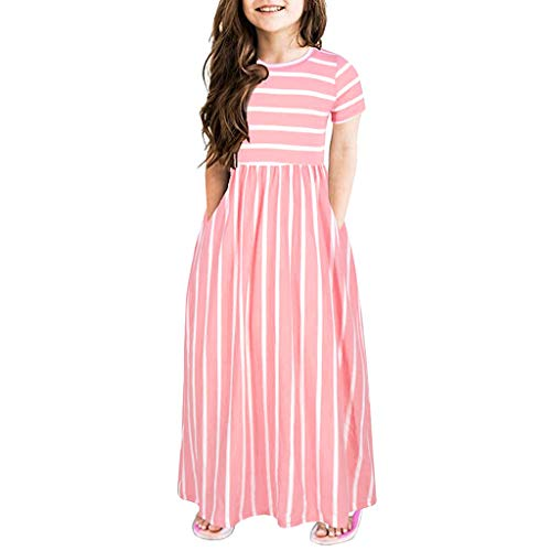Sameno Summer Girls Short Sleeve Stripe Holiday Party Dress Casual Maxi Dress with Pocket 2-12 Years (Pink, 11-12 Years)