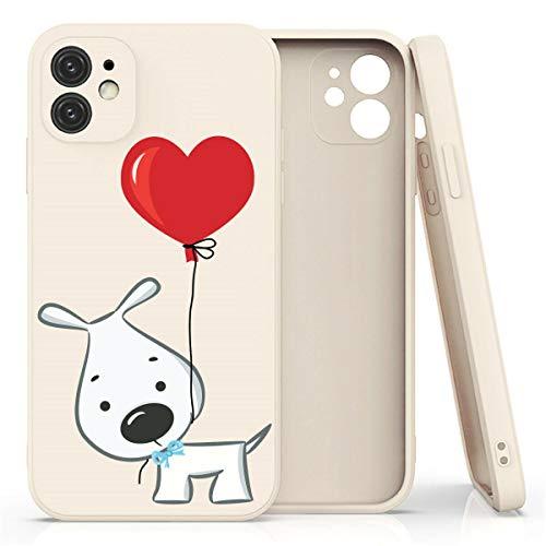 Mixroom - Cover Custodia per iPhone 8 in Silicone TPU Opaco con Bordi Piatti Colore Beige Fantasia Cane E Palloncino Love 1068