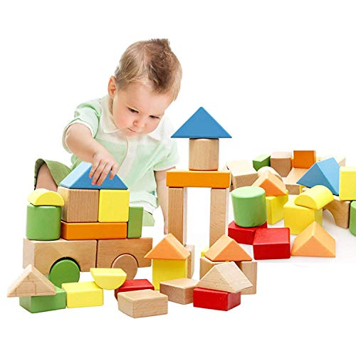 Lewo Grand Blocs en Bois Jeux de Construction Jeux Educatif Jouet de Premier Age pour Bébé Enfant Garcon Filles 3 4 5 Ans 32 Pièces