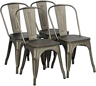 Yaheetech Metal Dining Chair with Wood Seat/Top Stackable...