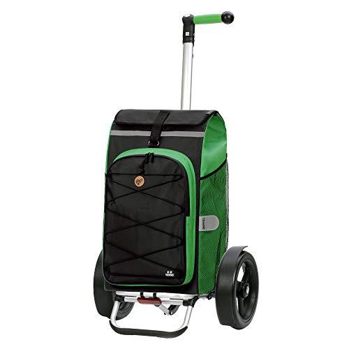 Andersen Shopper Tura Alu klappbar mit Kugellagerrad Ø 29cm und 72 Liter Tasche Fado 2.0 mit Kühlfach grün