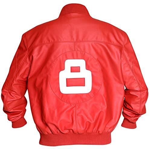 8 Ball Pool Seinfeld Michael Hoban Red Sheepskin Leather Bomber Jacket (XL)