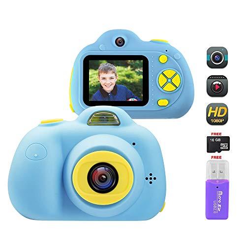 Cámara Digital para Niños, 18MP 1080P HD Video Cámaras para Niños con Tarjeta de Memoria de 16GB, Silicona a Prueba de Golpes Cámara de Fotos Digital con Zoom Digital 4X, Batería Recargable (Azul)