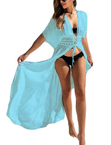 Bsubseach Traje De Baño Cubrir Traje De Baño Kimono Verano Manga Corta Playa Cárdigan Largo para Mujer Azul Claro